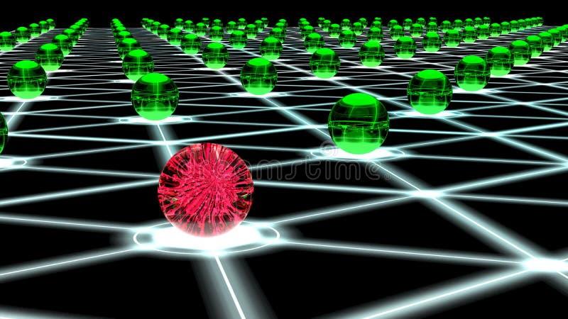 Réseau entaillé d'hexagone de concept de cybersecurity de noeuds de sphère illustration stock