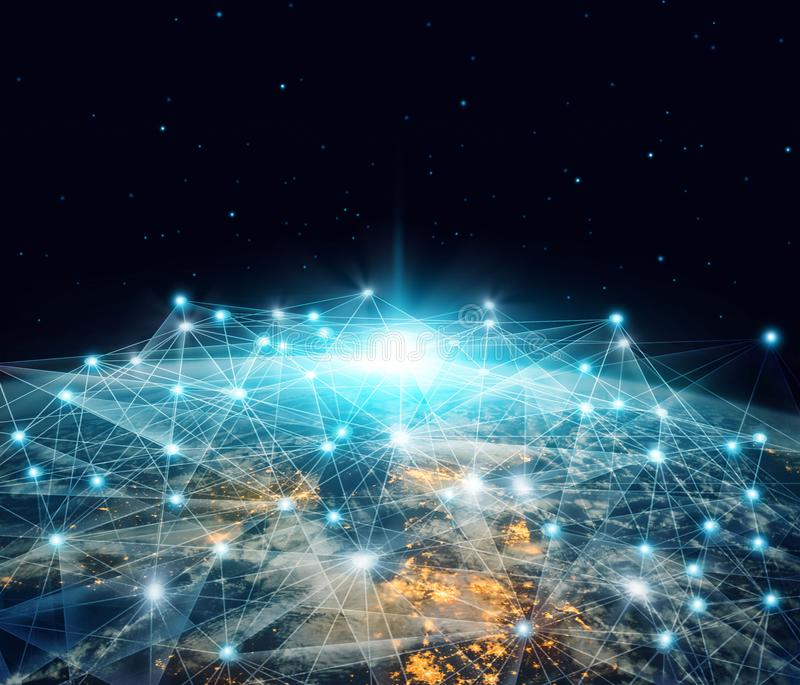 Réseau et d'échange de données Les affaires et la télécommunication globales de mise en réseau se sont reliées au-dessus de la te illustration de vecteur