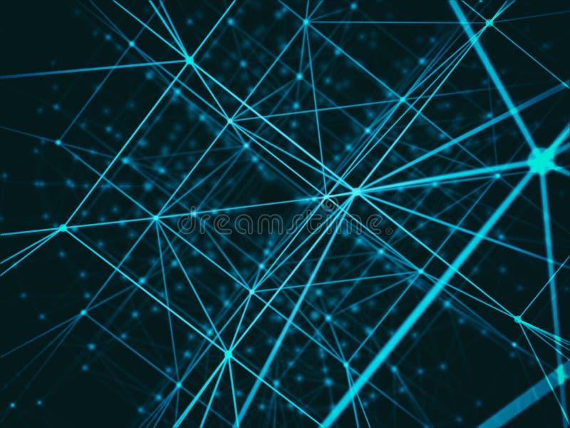 Réseau futuriste du monde de connexion de cube en cyber de technologie, ordinateur, câbles optiques virtuels de fibre, connexion  illustration de vecteur