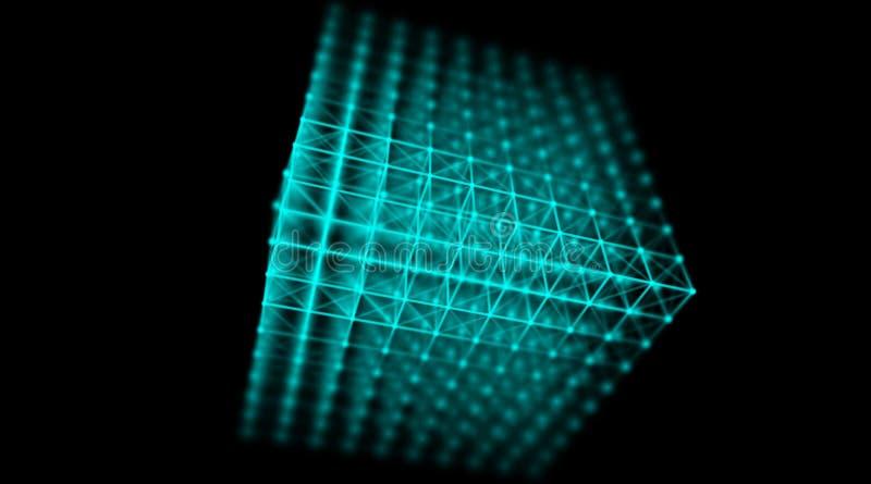 Réseau futuriste du monde de connexion de cube en cyber de technologie, ordinateur, câbles optiques virtuels de fibre, connexion  images libres de droits