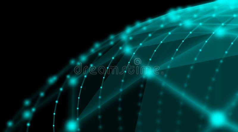 Réseau futuriste du monde de connexion de sphère de cyber de technologie, ordinateur, câbles optiques virtuels de fibre, connexio image libre de droits