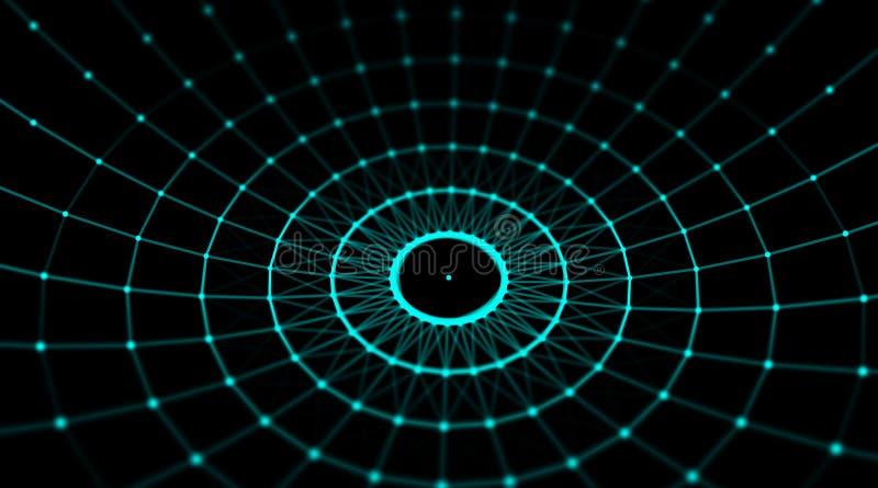 Réseau futuriste du monde de connexion de sphère de cyber de technologie, ordinateur, câbles optiques virtuels de fibre, connexio photos libres de droits
