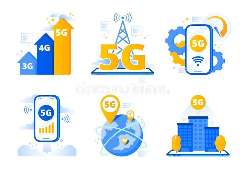 R?seau 5G mobile Point n?vralgique rapide d'Internet de ville, t?l?communication sans fil et vecteur de r?seaux de cinqui?me g?n? illustration stock
