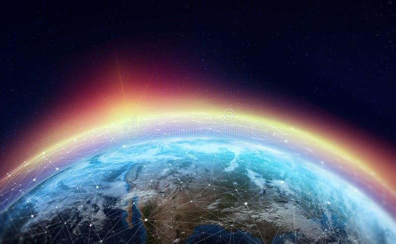 Réseau global à travers la planète La terre est entourée par un Web des données numériques illustration de vecteur