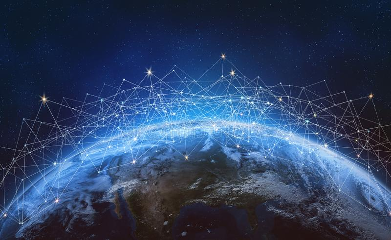 Réseau global à travers la terre de planète Blockchain photos stock