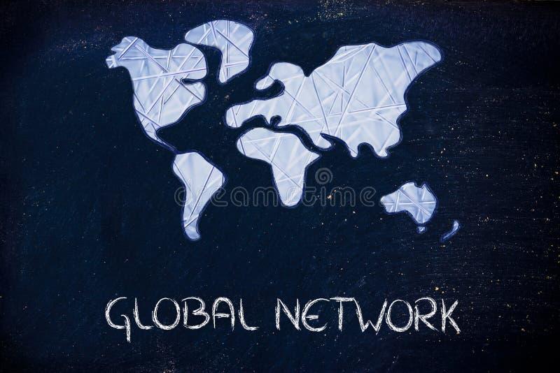 Réseau global, affaires dans le monde relié moderne photos stock