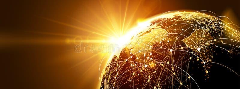 Réseau global avec le lever de soleil illustration de vecteur