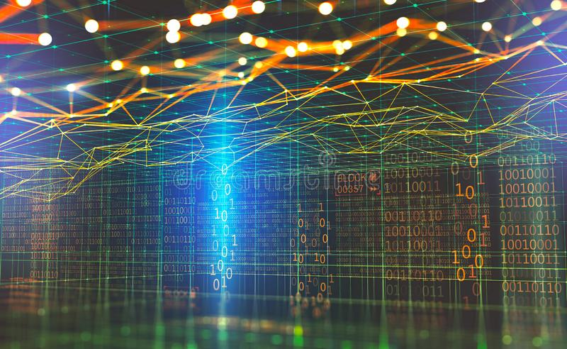Réseau global de grandes données Blockchain illustration 3D Réseaux neurologiques et intelligence artificielle Cyberspa technolog illustration libre de droits