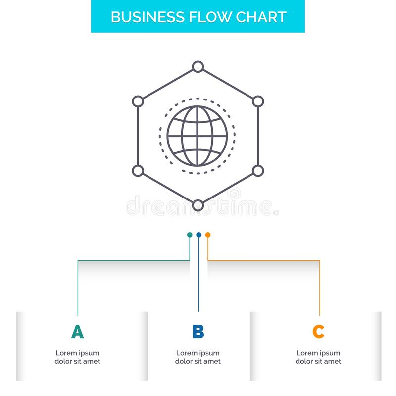 Réseau, global, données, connexion, conception d'organigramme d'affaires d'affaires avec 3 étapes Ligne ic?ne pour le fond de pr? illustration de vecteur