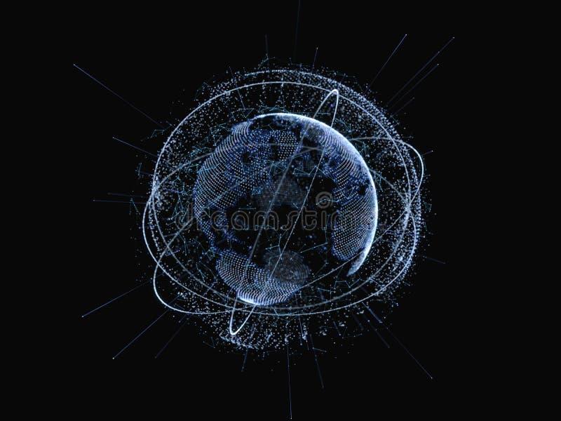 Réseau global et échanges de données au-dessus de la terre image libre de droits