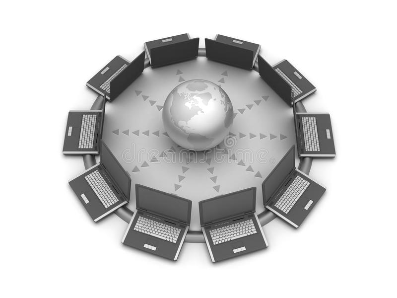 Réseau global - ordinateurs et globe illustration stock