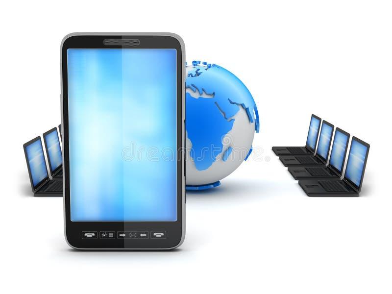 Réseau global - ordinateurs et téléphone portable illustration libre de droits