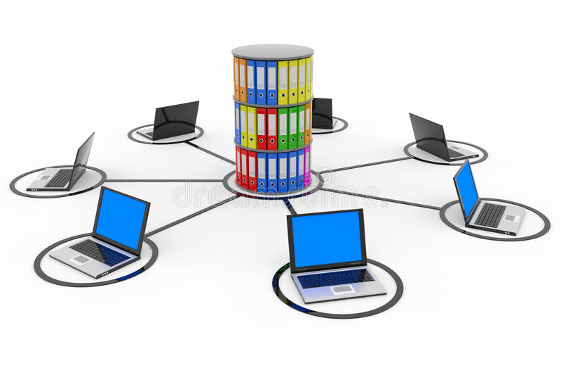 Réseau informatique abstrait avec des ordinateurs portatifs. illustration stock
