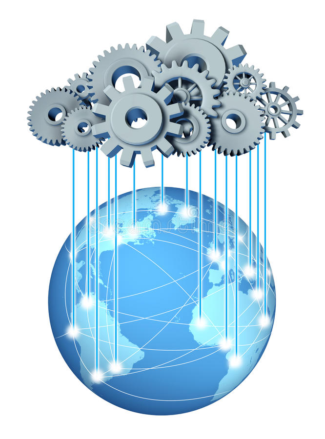 Réseau informatique de nuage global illustration de vecteur