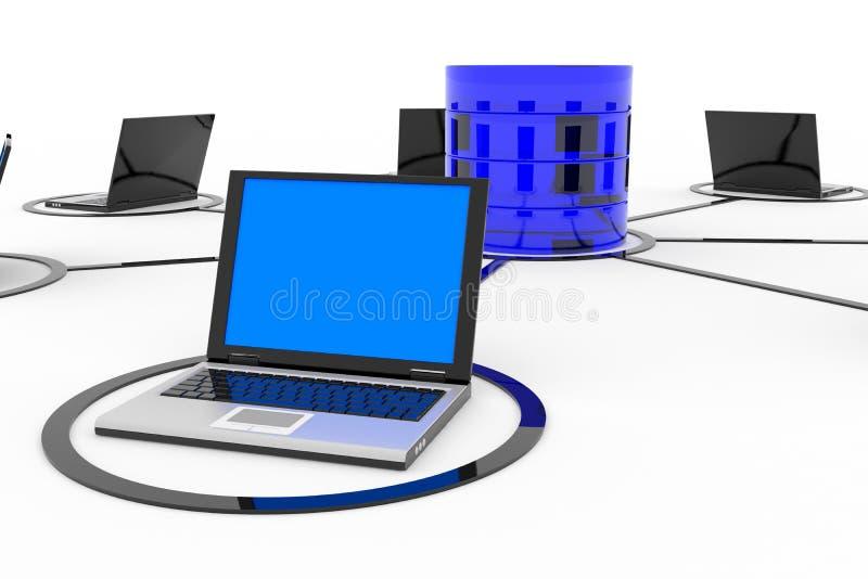 Réseau informatique et base de données abstraits. illustration de vecteur