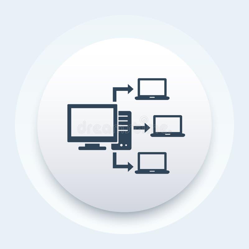 Réseau informatique, icône de serveur de base de données illustration libre de droits