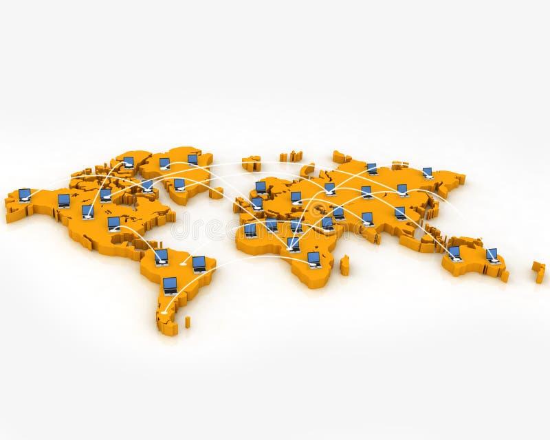 Réseau informatique sur la carte du monde images libres de droits