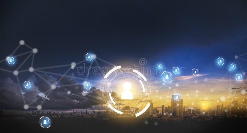 Réseau international de réseau d'homme d'affaires de personnes émouvantes de données illustration stock