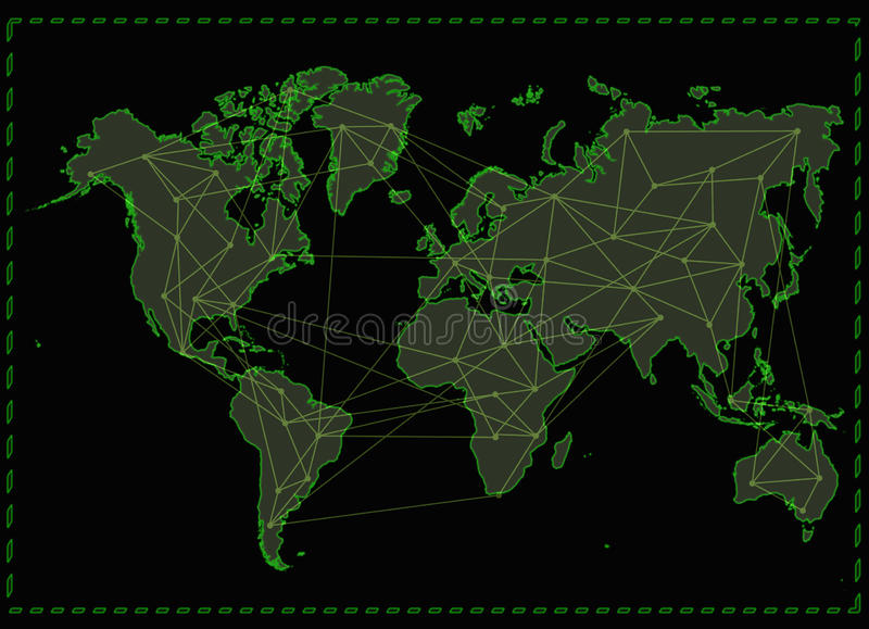 Réseau Internet de carte du monde illustration stock
