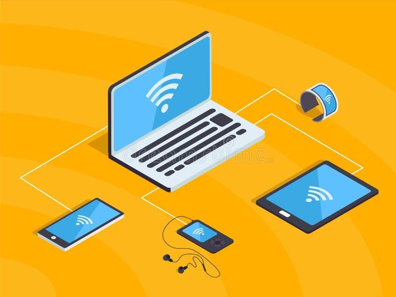 Réseau isométrique de wifi avec les instruments intelligents Nuage de synchronisation illustration libre de droits