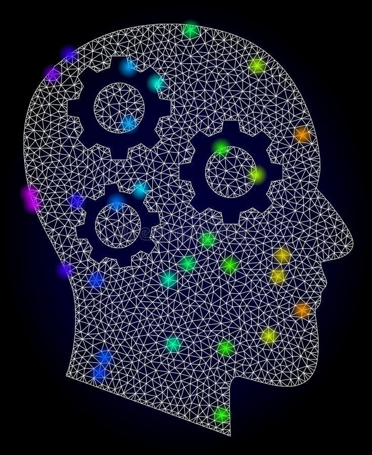 Réseau Mesh Brain Gears de vecteur avec les taches d'éclat colorées par spectre illustration de vecteur