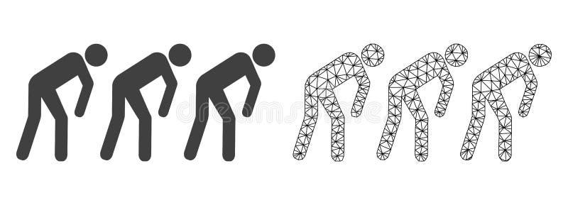 Réseau Mesh Slave People de vecteur et icône plate illustration libre de droits