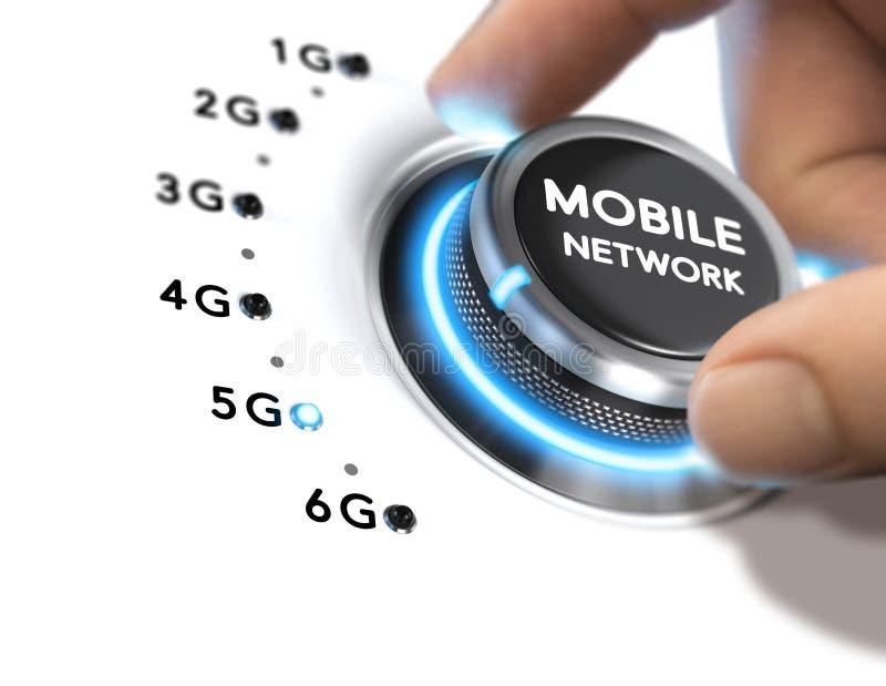 réseau mobile de 5ème génération, libération du système sans fil 5G illustration stock