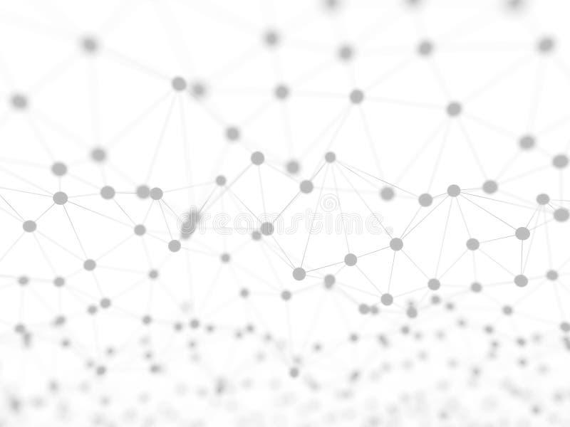 Réseau neurologique abstrait sur l'illustration blanche du fond 3d illustration libre de droits