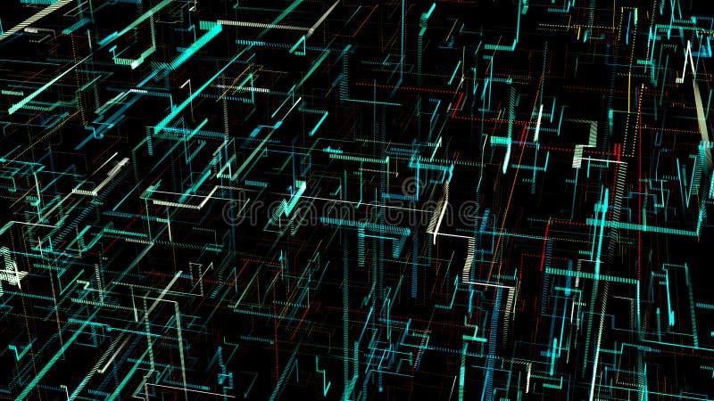 réseau neurologique artificiel numérique de Trois-dimension illustration de vecteur