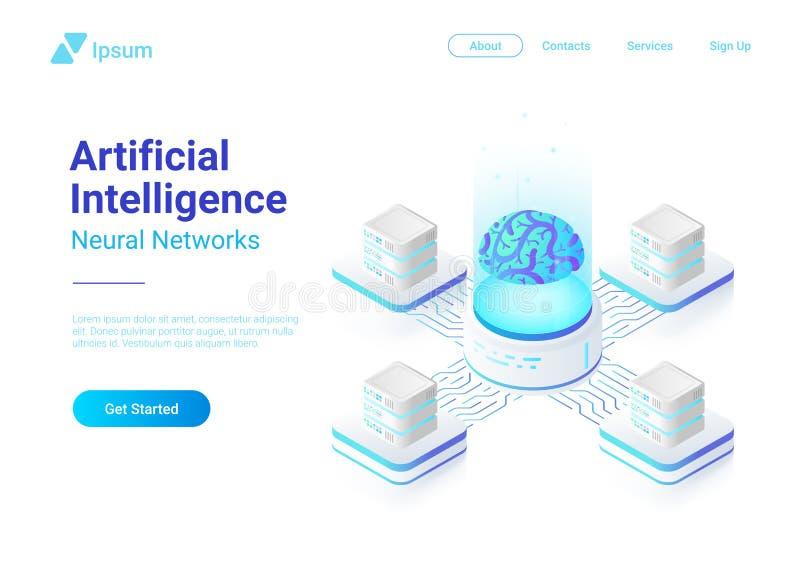 Réseau neurologique d'intelligence artificielle avec l'illustration plate isométrique de vecteur de concept de cerveau de Digital illustration stock