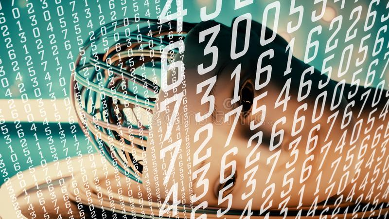 Réseau neurologique profond, sécurité AI, concept abstrait de cyber d'analytics illustration de vecteur