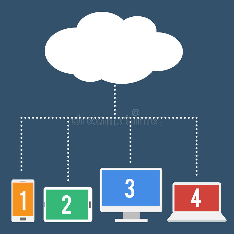 Réseau partageant utilisant le calcul de nuage illustration libre de droits