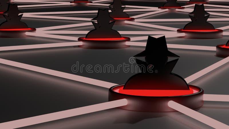 Réseau peu sûr de chapeau noir de cybersecurity de réseau illustration stock