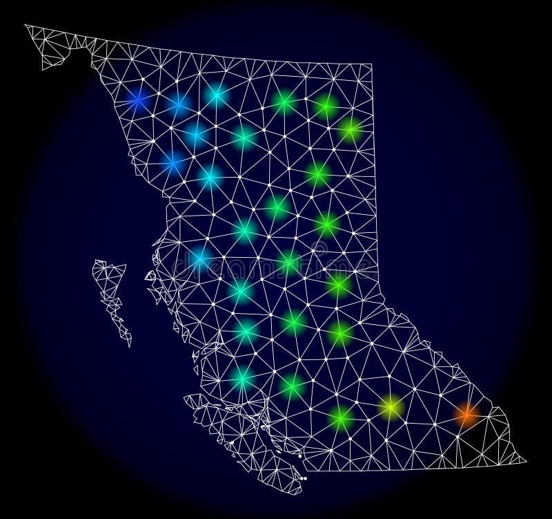 Réseau polygonal Mesh Map de la Colombie-Britannique avec les taches lumineuses lumineuses illustration stock