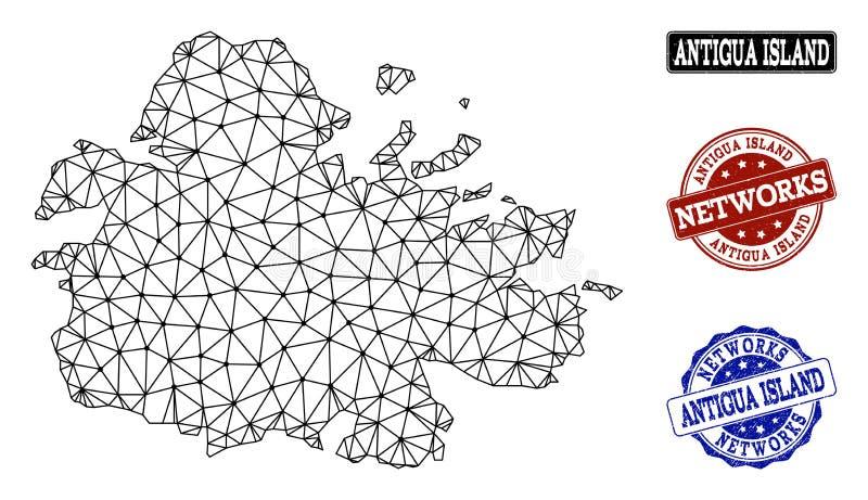 Réseau polygonal Mesh Vector Map d'île de l'Antigua et de timbres grunges de réseau illustration libre de droits
