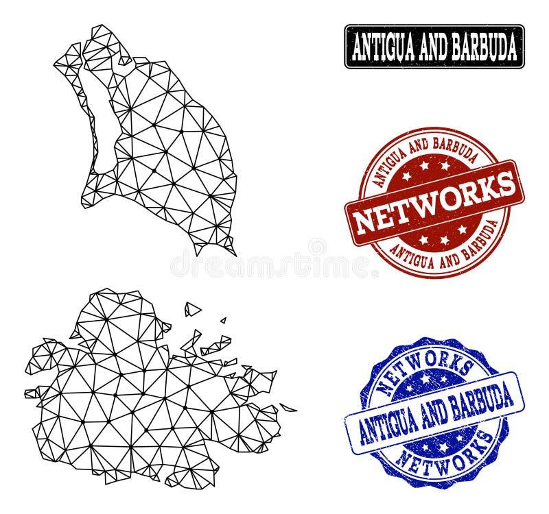 Réseau polygonal Mesh Vector Map de l'Antigua-et-Barbuda et des timbres grunges de réseau illustration de vecteur