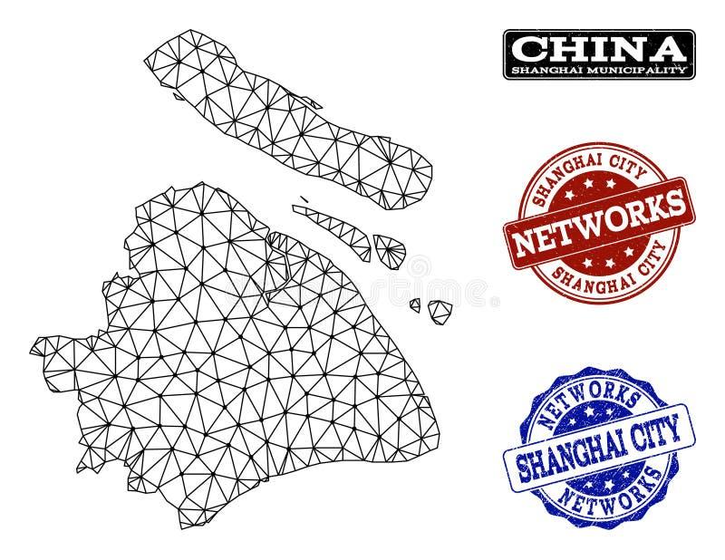 Réseau polygonal Mesh Vector Map de municipalité de Changhaï et de timbres grunges de réseau illustration libre de droits