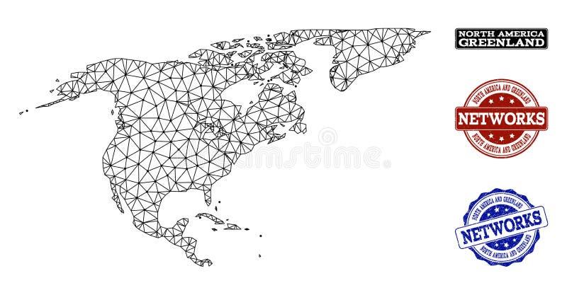 Réseau polygonal Mesh Vector Map des timbres grunges de l'Amérique du Nord et du Groenland et du réseau illustration de vecteur
