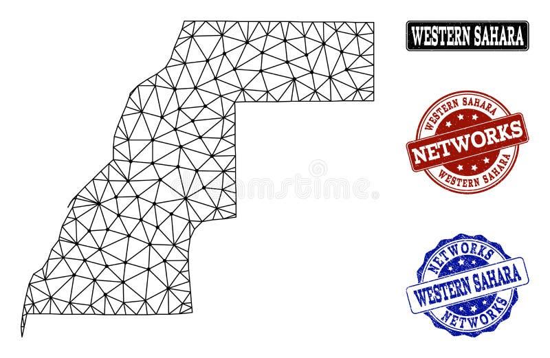 Réseau polygonal Mesh Vector Map des timbres grunges de la Sahara occidental et de réseau illustration libre de droits