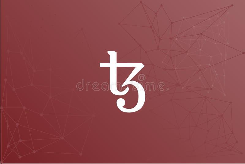 Réseau rouge d'icône de cryptocurrency de Tezos XTZ illustration stock