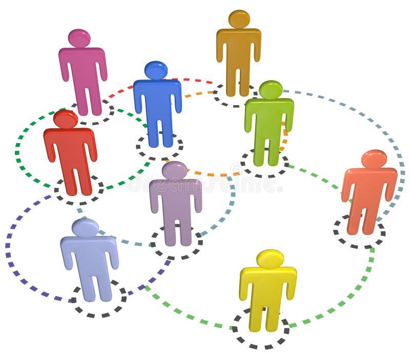 Réseau social d'affaires de connexions de cercle de gens illustration stock