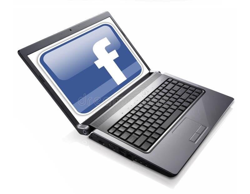 Réseau social de Facebook accédé sur l'ordinateur portable illustration stock