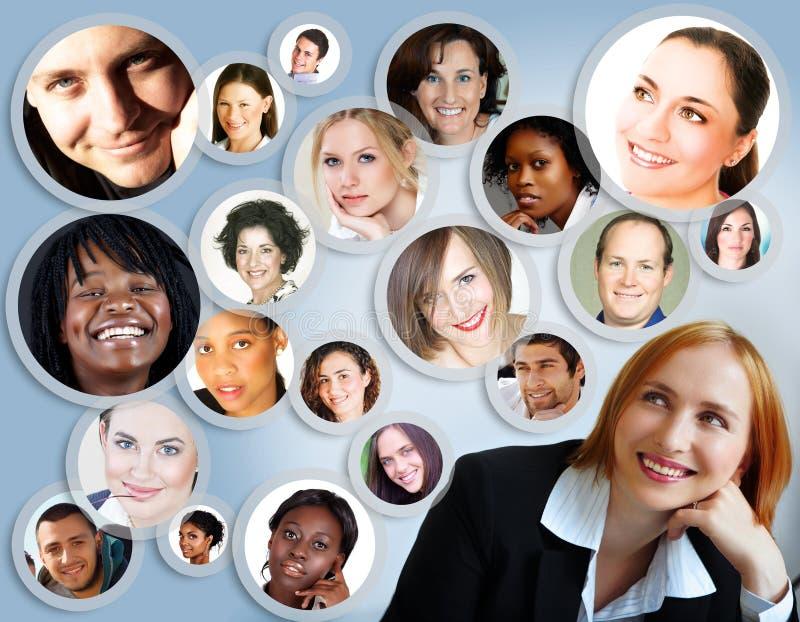 Réseau social de femme d'affaires. illustration stock