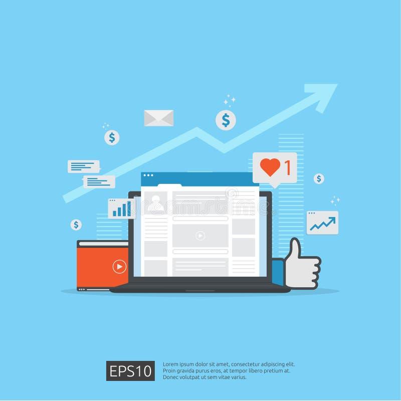 Réseau social de médias et concept de commercialisation numérique pour l'affiche, page Web, bannière, présentation analyse d'assi illustration de vecteur