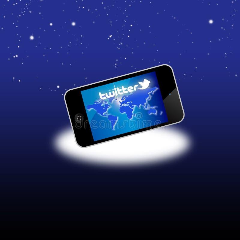 Réseau social de Twitter sur le matériel mobile illustration libre de droits