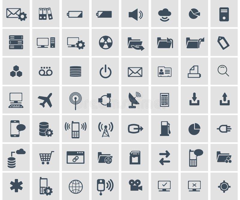 Réseau social, données analytiques, mobile et ensemble d'icône d'application Web Vecteur plat illustration de vecteur