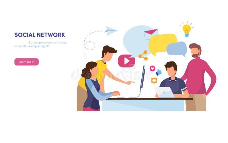 Réseau social La communauté en ligne contenu de vente Media social, comme, part, courrier Graphique de vecteur plat d'illustratio illustration stock