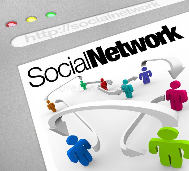 Réseau social sur des personnes d'Internet reliées par des flèches illustration stock