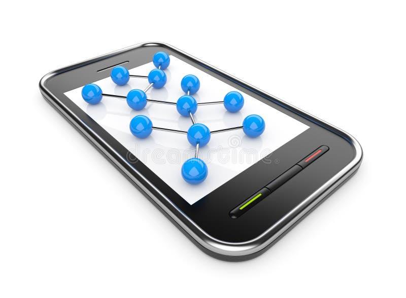 Réseau social sur le smartphone mobile 3D illustration de vecteur
