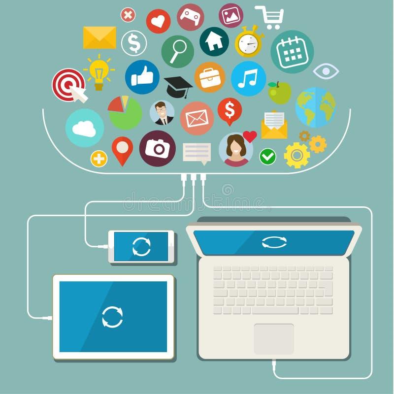Réseau social, transmission dans le global illustration stock